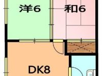 【NO.191 棚原アパート 202】2DK★敷礼無し★駐車場2台目可能!コンビニまで徒歩2分♪ 2階 間取り図